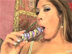 Capri Cavanni gets herself off with a glass faux-cock