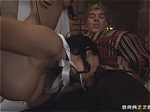 Alluring Anissa Kate and Jasmine Jae obey the king's will and lollipop